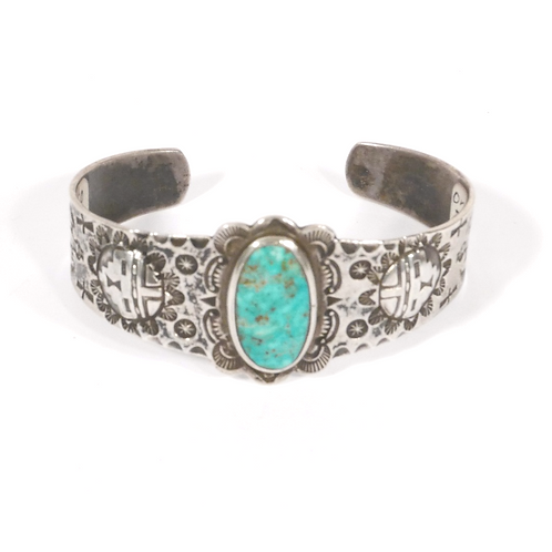 Old Harvey Navajo Stamped Coin Silver & Turquoise Cuff