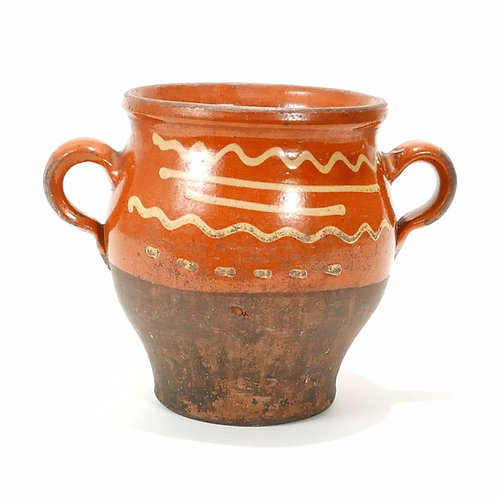 19th Century Slip Decorated Redware Pottery Jar