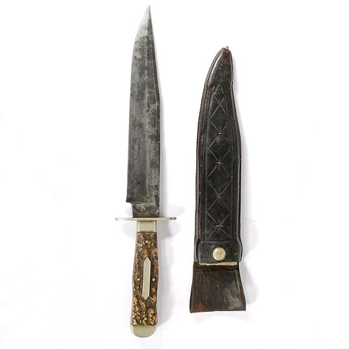 Antique George Wostenholm Sheffield I*XL Hunting/Bowie Knife. Stag Handles