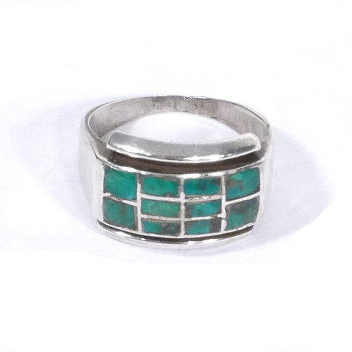 Vintage Navajo Turquoise Inlaid Silver Ring