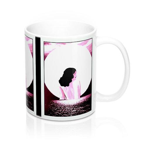 White and Pink BOHO Chic Coffee Mug Moonlight Swim Full Moon Woman Home Decor