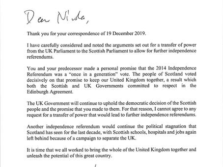 Prime Minister's Letter to Nicola Sturgeon.
