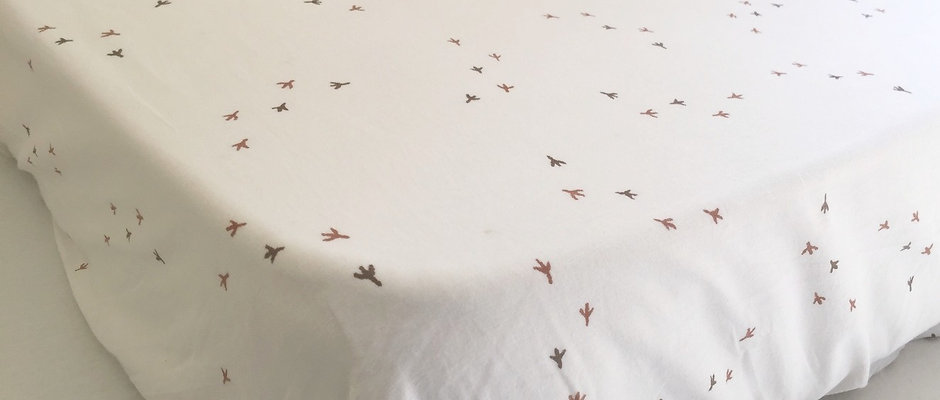 Chicken Prints Cot Fitted Sheet
