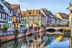 Mulhouse, Colmar, Alsace, Frankrijk, Vogezen, vakwerkstadje