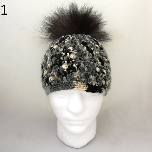 #10 Crocheted Hat With Fox Pom Pom
