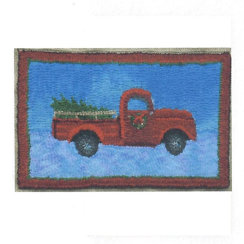 #66 Pattern Red Truck with Christmas Tree