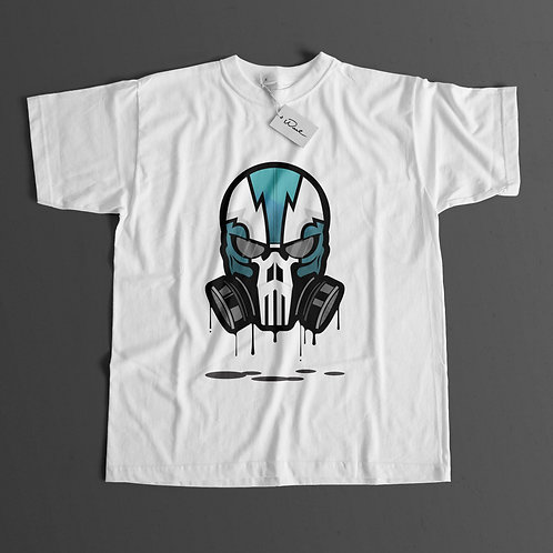 Green Skull Short Sleeve T-shirt (White)