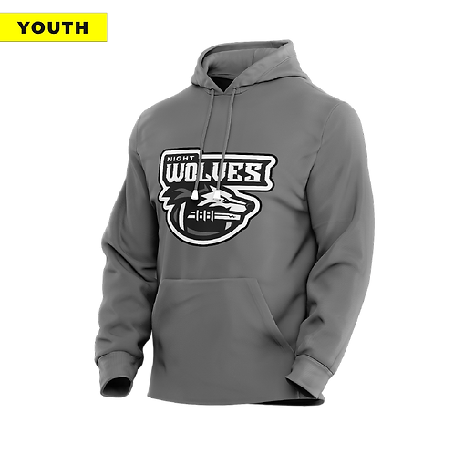 (YOUTH) Night Wolves - Dri-Fit Grey Hoodie