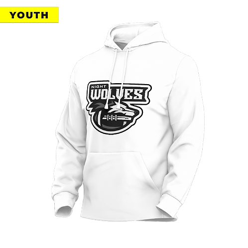 (YOUTH) Night Wolves - Dri-Fit White Hoodie