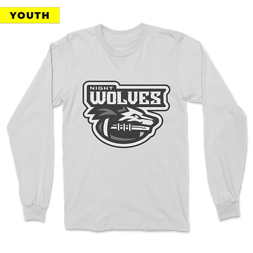 (YOUTH) Night Wolves - Long Sleeve - White
