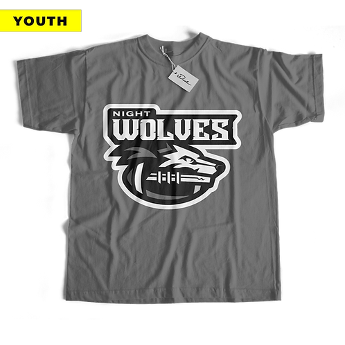(YOUTH) Night Wolves Tee - Grey