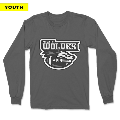 (YOUTH) Night Wolves - Long Sleeve - Grey