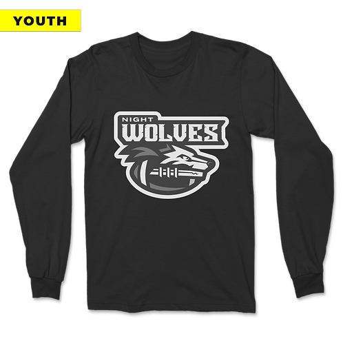 (YOUTH) Night Wolves - Long Sleeve - Black