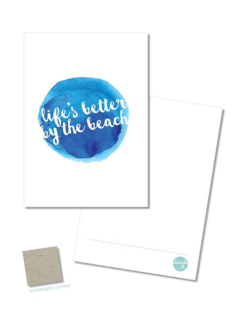 NOTECARD 'Life's better by the beach'
