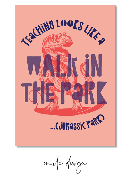 NOTECARD Teacher 'Jurassic Park #2'