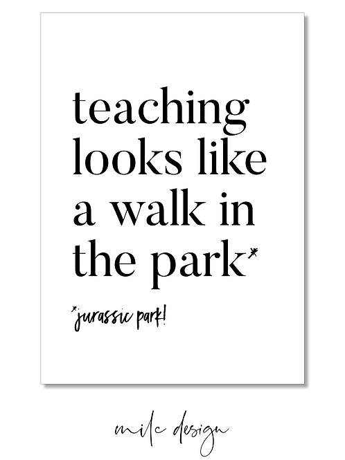 NOTECARD Teacher 'Jurassic Park'