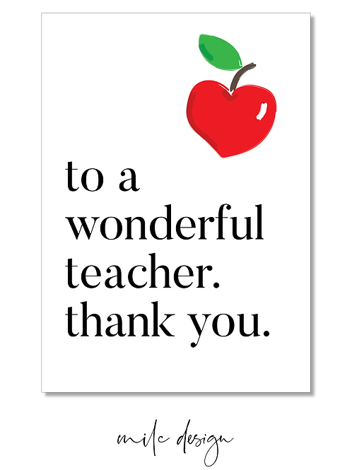 NOTECARD Teacher 'To a wonderful teacher'