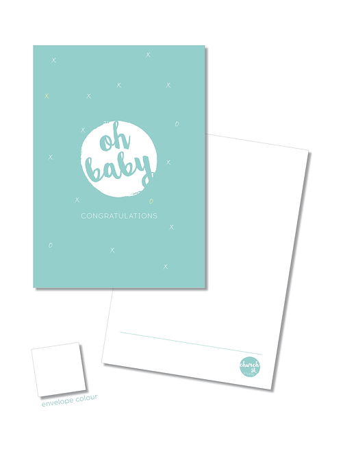 NOTECARD 'oh baby' {blue}