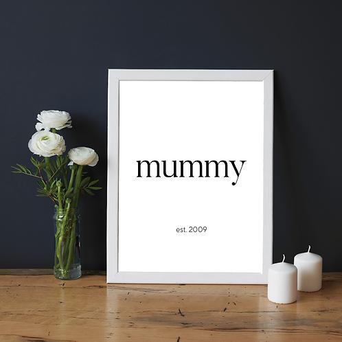 'mummy est.' 5x7in Printable File