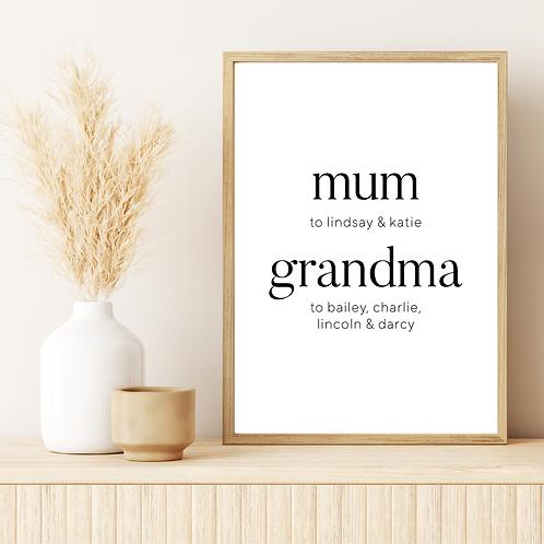 mum/grandma 5x7in Printable File