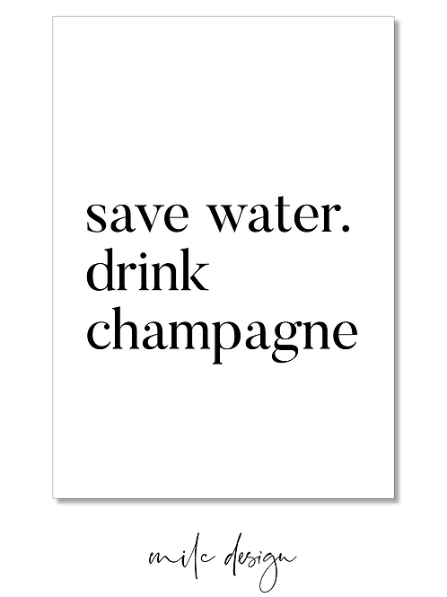 NOTECARD 'Drink champagne'