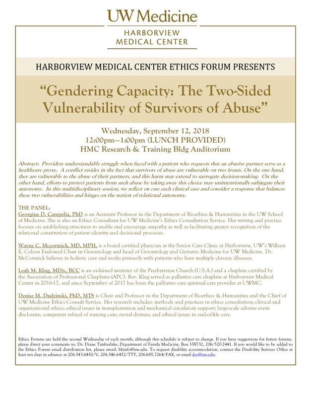 HMC Ethics Forum September 12th