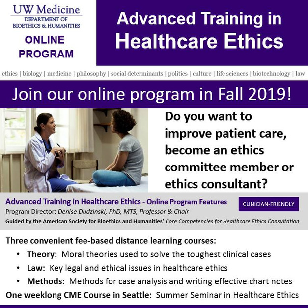 Advanced Training in Healthcare Ethics Online!