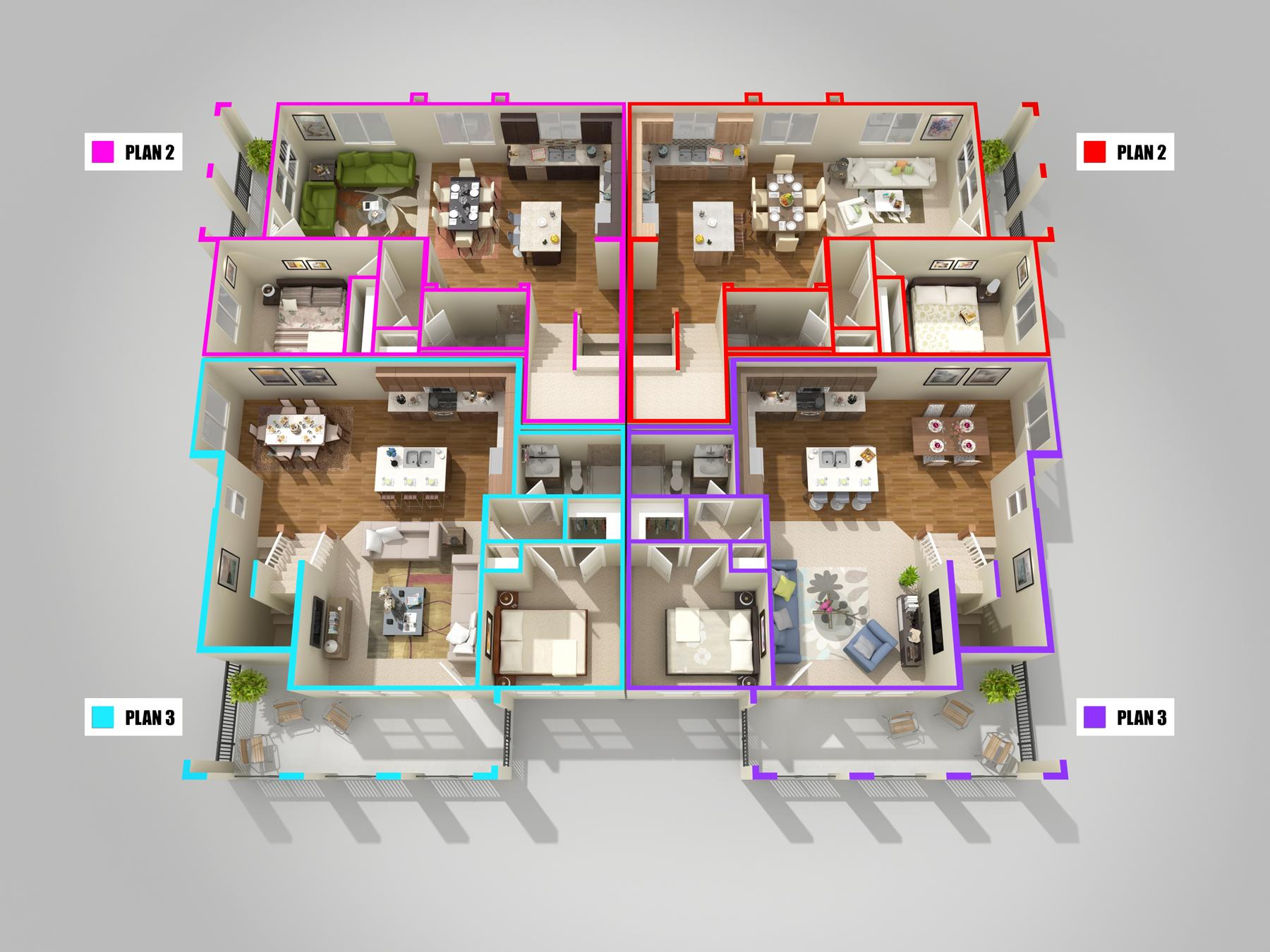 Ravenna 6 Plex_3d Floor Plan_F2