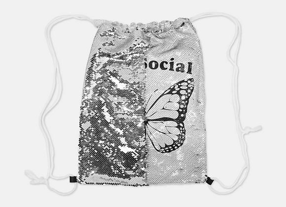 Anti-Social Butterfly - Reversible Sequin Drawstring Bag