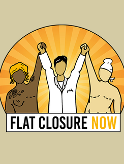 Collaboration with artist Melanie Testa for Flat Closure NOW's logo - Melanie and I are two of the co-founders of this nonprofit. Visit the website to learn more about our work & mission!