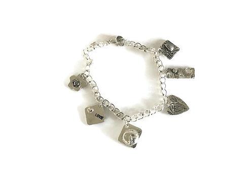 Silver Metal Clay Charm Bracelet