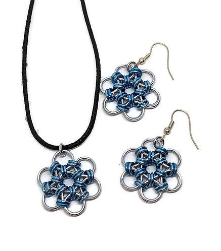 Japanese Flower Pendant & Earring Set