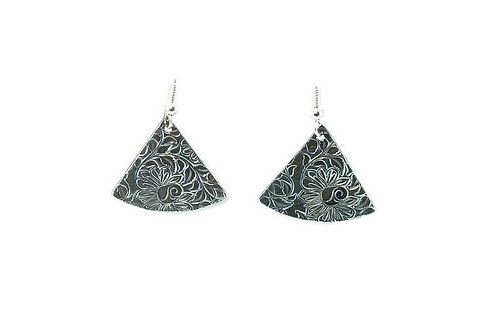 Textured Silver Clay Pendant and Earrings