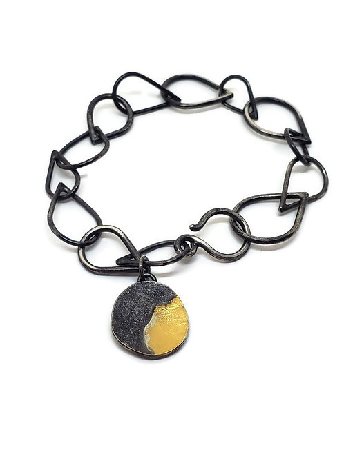 Oxidized Bracelet with 24 karat gold Accent