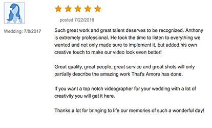 wedding videographer reviews