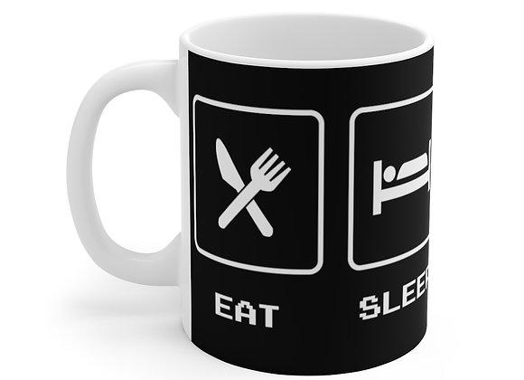 Black Eat Sleep Game Repeat Mug