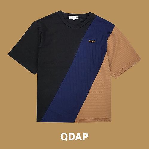 BLACK NAVY BEIGE PANELLED TEE / เสื้อยืด ตัดต่อ สีดำ สีกรมท่า สีครีม