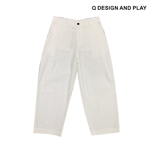 WHITE LINEN SIDE TUCK PANTS / กางเกงขายาวลินินสีขาว