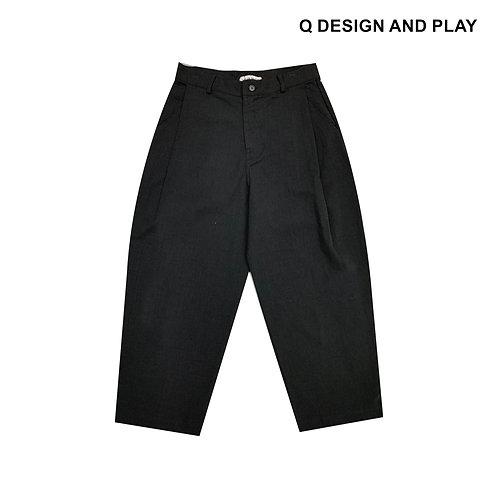 BLACK LINEN SIDE TUCK PANTS / กางเกงขายาวลินินสีดำ