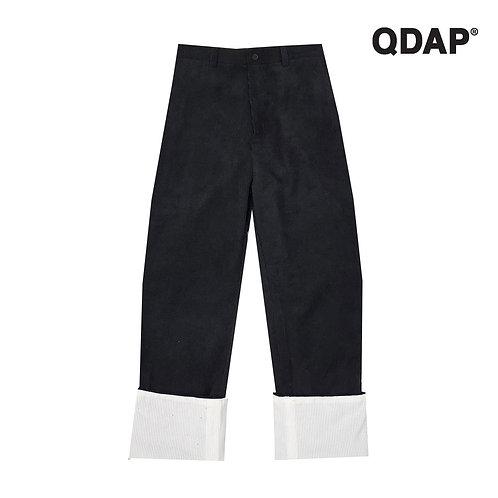 BLACK CORRUGATED PANTS กางเกงขายาว ผ้าลูกฟูก สีดำ ตัดต่อขา