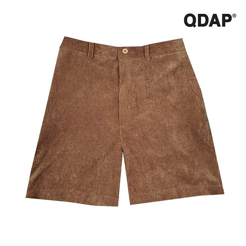 BROWN CORRUGATED SHORTS กางเกงขาสั้น ผ้าลูกฟูก สีน้ำตาล ตัดต่อ กระเป๋า