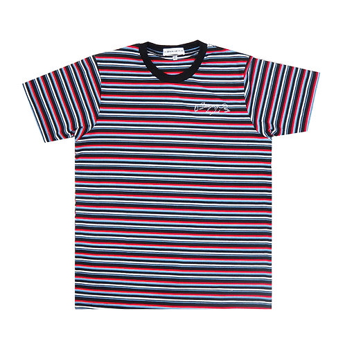 BLACK RED STRIPPED TEE