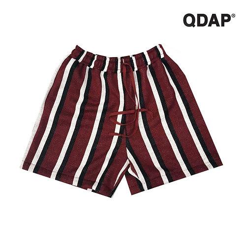 RED STRIPED SHORTS / กางเกงขาสั้น เอวยางยืด ลายทาง สีแดง และ สีดำ