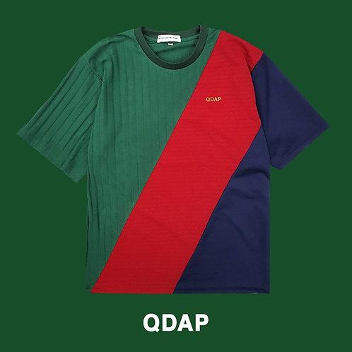 GREEN RED NAVY PANELLED TEE / เสื้อยืด ตัดต่อ สีเขียว สีแดง สีกรมท่า