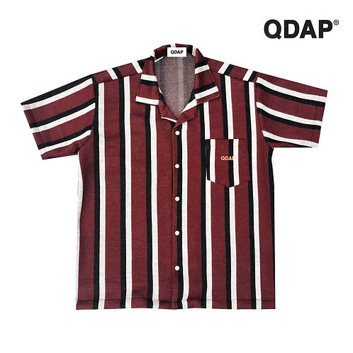 RED STRIPED SHIRT / เสื้อเชิ้ต แขนสั้น ลายทาง สีแดง