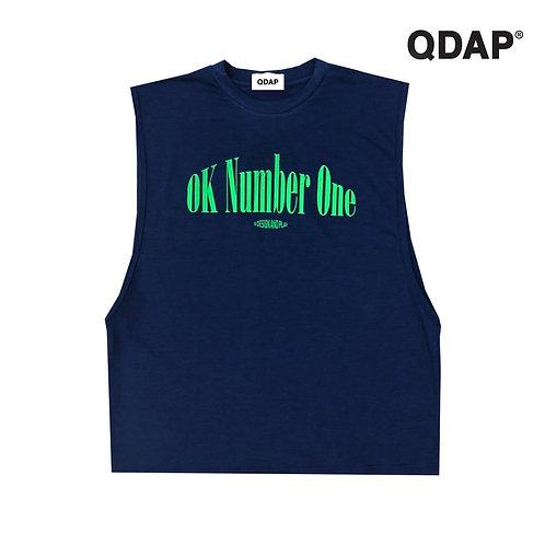 """NAVY """"OK NUMBER ONE"""" TANK / เสื้อยืด แขนกุด สีกรมท่า ลาย ok number one"""