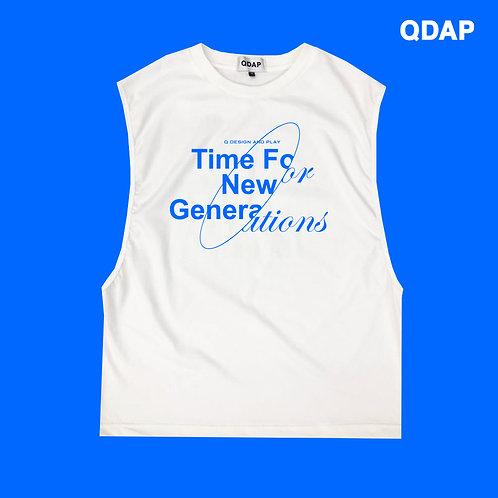 "WHITE ""TIME FOR NEW GENERATIONS"" TANK / เสื้อยืดแขนกุดสีขาวลายเวลาของคนรุ่นใหม่"