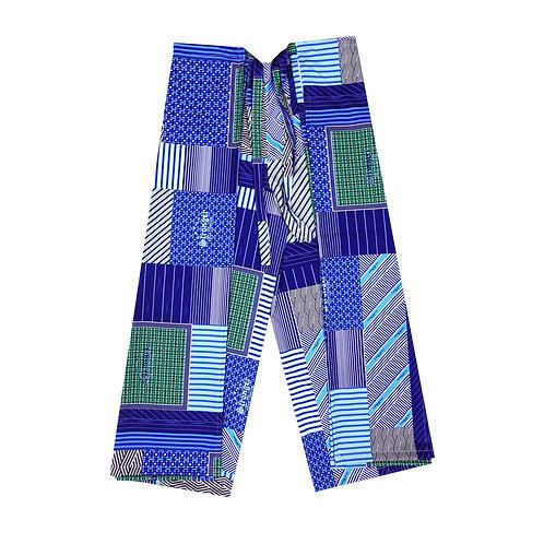 BLUE HANDKERCHIEF FISHERMAN PANTS