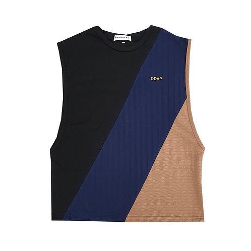 BLACK NAVY BEIGE PANELLED TANK / เสื้อแขนกุด ตัดต่อ สีดำ สีกรมท่า สีครีม