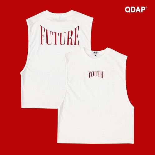WHITE YOUTH FUTURE TANK / เสื้อยืด แขนกุด ลาย YOUTH FUTURE สีขาว
